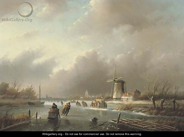 Ice-skating on a frozen river in winter - Jan Jacob Spohler