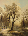 A forest in winter with skaters on a frozen waterway - Jan Jacob Spohler