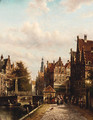 A Dutch town on a canal - Jan Jacob Spohler