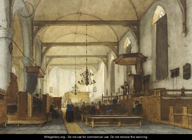 The interior of the Bakenesse church, Haarlem - Jan Jacob Schenkel