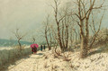 An afternoon stroll in the snow - Jan Jacob Lodewijk Ten Kate