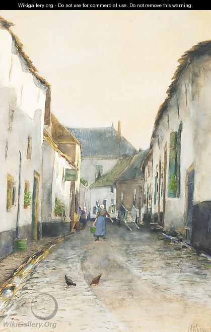 Street in a fishing village - Jan Hillebrand Wijsmuller