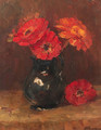 Flowers in a vase - Jan Hillebrand Wijsmuller
