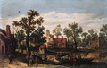 A village by a river with peasants and cattle on a ferry setting out from a landing stage, in summer - Jan van Goyen