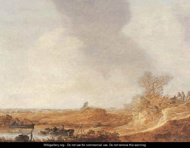 A river landscape with fishermen - Jan van Goyen
