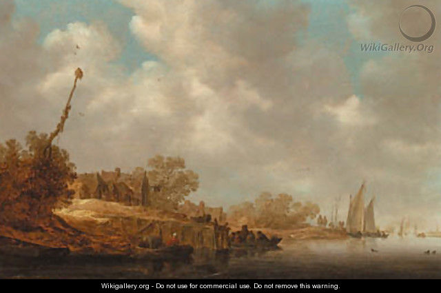 A river landscape with fishermen in boats and a ferry by a village jetty - Jan van Goyen