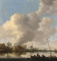 A river landscape with fishermen in a rowing boat, a lime kilm, farmhouses and a church beyond - Jan van Goyen