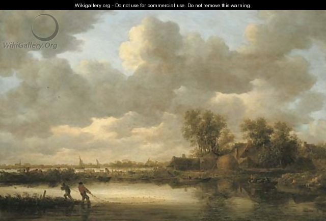 A river landscape with fishermen drawing in their nets near a village - Jan van Goyen