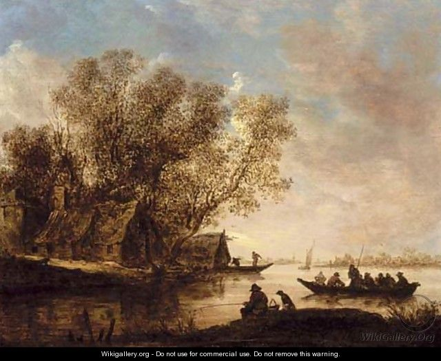 A river landscape with fishermen and a cottage on the bank - Jan van Goyen