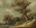 A dune landscape with peasants talking under a tree, an inn with travellers beyond - Jan van Goyen