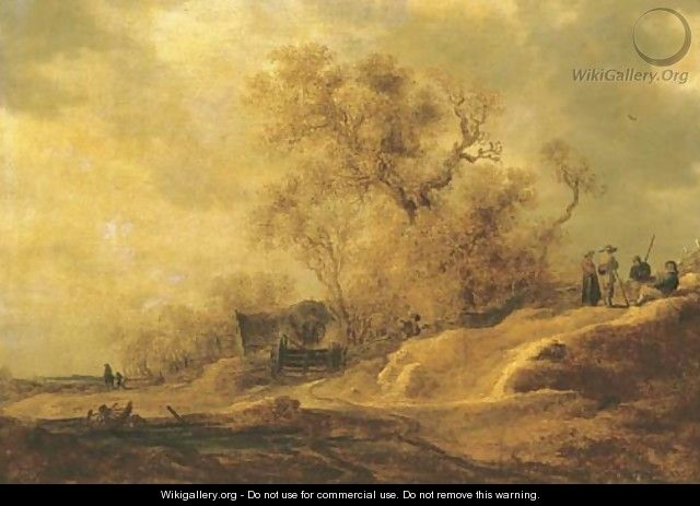 A dune landscape with peasants by a track 2 - Jan van Goyen