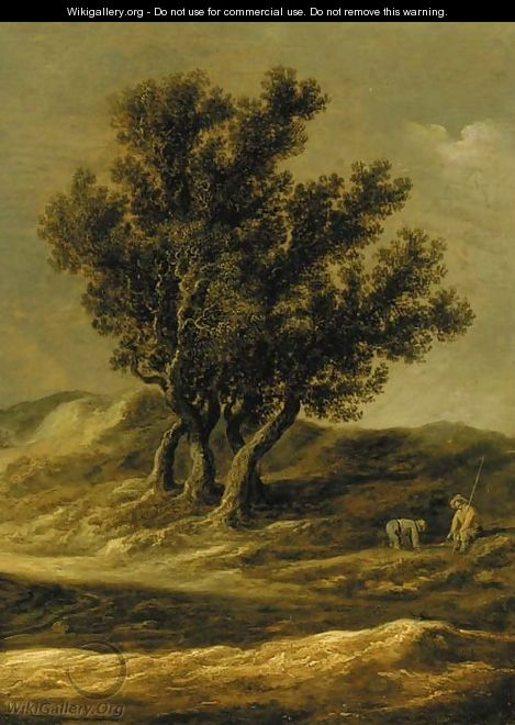 A dune landscape with peasants by a track - Jan van Goyen