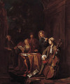 Elegant company making music on a terrace - Jan Josef, the Elder Horemans