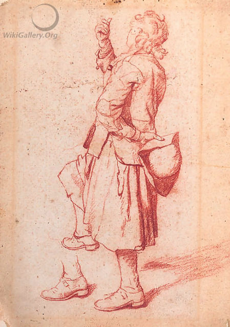 A man with one knee raised, holding his hat behind his back - Jan Josef, the Elder Horemans
