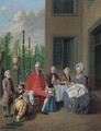 Group portrait of the van den Bosch family, dining by a house, a topiary garden beyond - Jan Jozef, the Younger Horemans