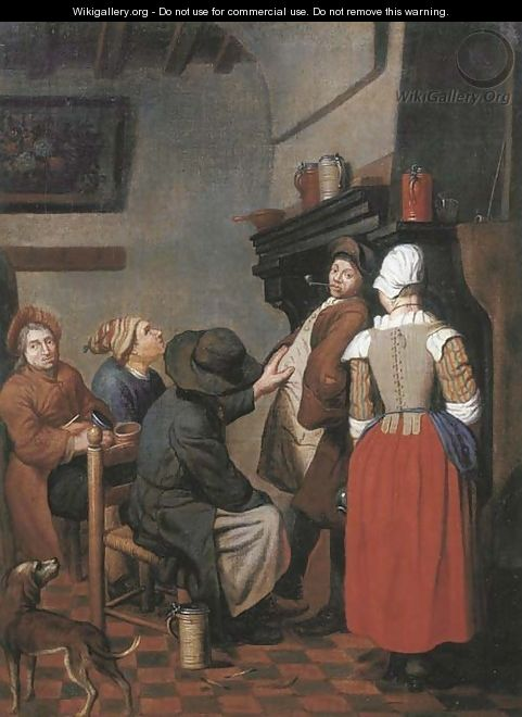 Company smoking and conversing in a kitchen - Jan Jozef, the Younger Horemans