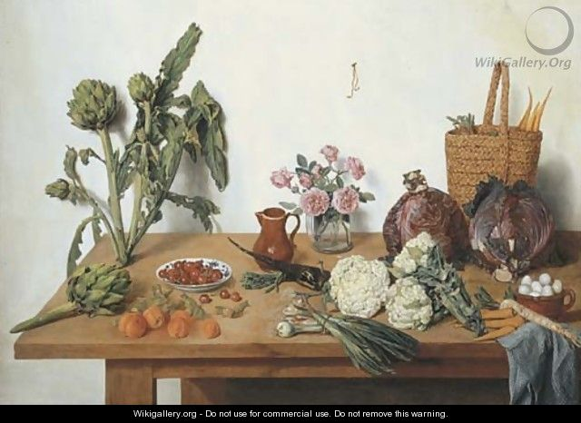 Cauliflower, onions, peaches, cherries, artichokes, roses in a glass vase, a jug, a basket with carrots, cabbages and eggs with a blue cloth - Jan Jozef, the Younger Horemans