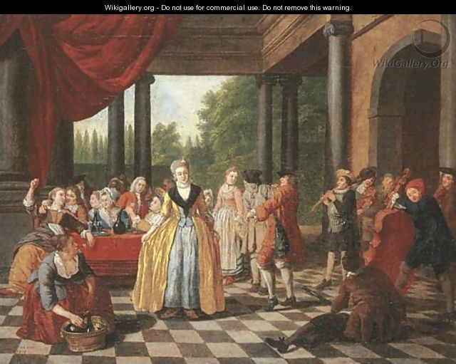 Elegant company dancing and feasting on a terrace - Jan Jozef, the Younger Horemans