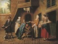 A courtyard in a town with a mussel seller and other figures - Jan Jozef, the Younger Horemans