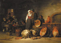 A couple standing by pots and pans in a stable, boors smoking and drinking at tables beyond - Jan Jansz. Van Buesem