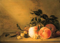 Peaches and other fruit an apple, an apricot, plums and cherries - Jacob Matham