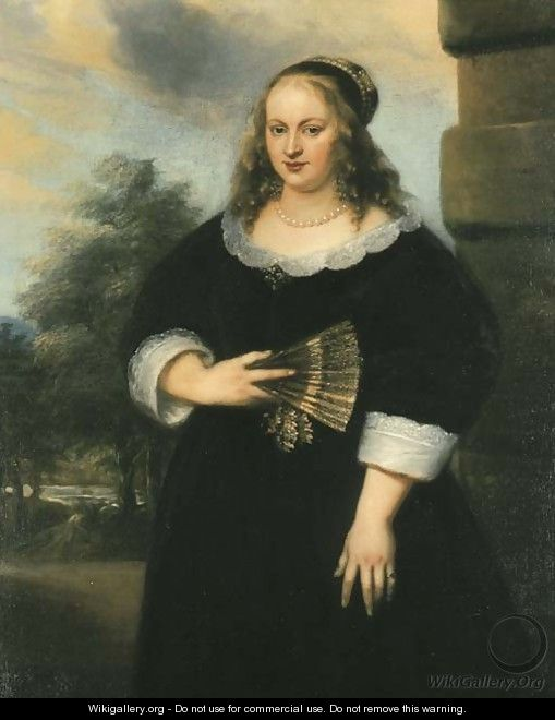 Portrait of a Lady, three-quarter-length, in a black dress with a white lace collar and cuffs, a fan in her right hand, a garden beyond - Jan Lievens