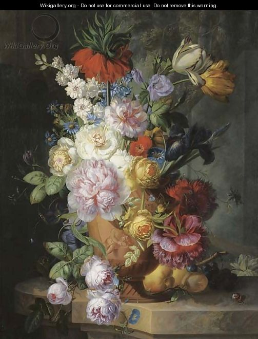 Roses, parrot tulips, an iris, morning glory and other flowers in a sculpted vase - Jan Keldermann