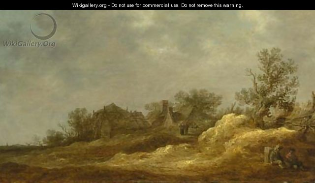 Travellers resting on a track, a village in the distance - Jan van Goyen
