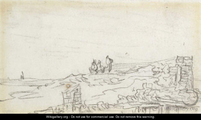 Three figures on a dyke - Jan van Goyen