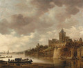 The Valkhof at Nijmegen with a coach and horses on a ferry on the River Waal - Jan van Goyen