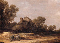 Peasants resting on a track by a farm - a fragment - Jan van Goyen