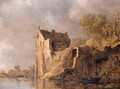 Fishermen in a rowingboat by a landing stage near a ruined castle on a cloudy day - Jan van Goyen
