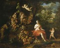 Vertumnus and Pomona, putti decorating a statue of Pan with a swag of fruit, in a landscape - Jan Pauwel II the Younger Gillemans