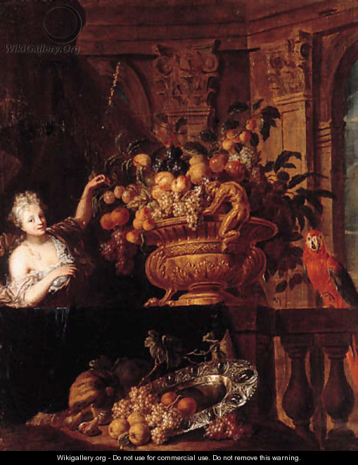 A silver-gilt bowl, grapes, peaches, oranges, figs and a basket of fruit with a monkey and a squirrel on a ledge, with a lady before a portico - Jan Pauwel II the Younger Gillemans
