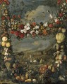 Animals in a landscape surrounded by a garland of flowers - Jan Pauwel Gillemans The Elder