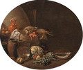 A kitchen interior with a hare and a mallard on a table by a basket with fish on a terracotta plate, apples, artichokes and other vegetables - Jan Olis