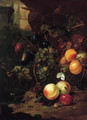 Peaches, plums, grapes on the vine and other fruit in a basket, with a snail, a dragonfly and a mouse, by a rock - Jan Mortel
