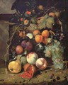 Peaches, plums, apricots, grapes, pears, blackberries, sheafs of corn, chestnuts, walnuts, medlars, cherries and a pomegranate with a snail - Jan Mortel