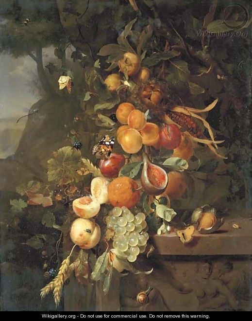 Peaches, apricots, grapes, oranges, blackberries, sheafs of corn and a pomegranate on a plinth with a sculpted relief, with butterflies - Jan Mortel