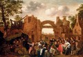 Villagers merrymaking and playing La main chaude amongst ruins - Jan Miense Molenaer