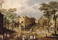 A town landscape with company, townsfolk and wagoners - Jan The Elder Brueghel