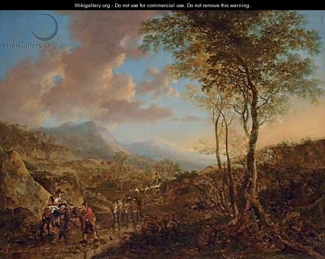 An Italianate landscape with peasants on a path - Jan Both