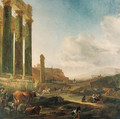 An Italianate landscape with a ruined Doric colonnade - Jan Baptist Weenix