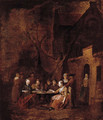 Country folk seated at tables outside inns - Jan Baptist Lambrechts