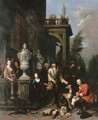 A family hunting group outside a Neoclassical mansion - Jan Baptist Lambrechts