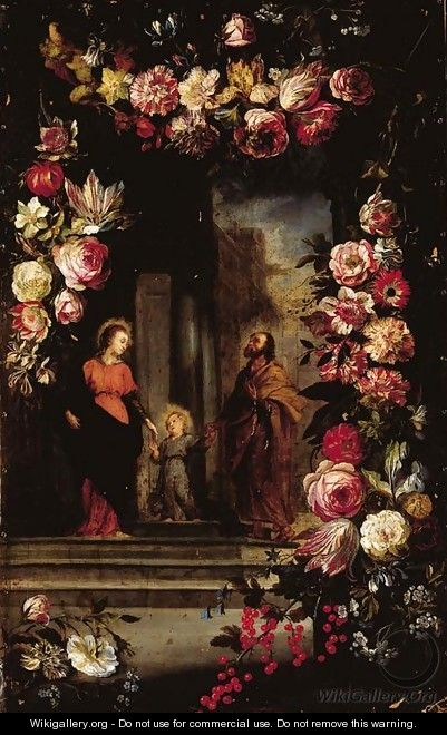 A garland of flowers surrounding The Holy Family - Jan, the Younger Brueghel