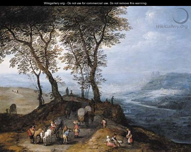An extensive landscape with travellers on a path overlooking a valley, a city beyond - Jan, the Younger Brueghel