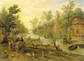 A wooded river landscape with travellers in horse-drawn carts and livestock - Jan, the Younger Brueghel