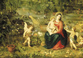 The Madonna and Child seated in a garden with putti, birds and animals - Jan, the Younger Brueghel