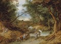 A wooded landscape with travellers on a path - Jan The Elder Brueghel